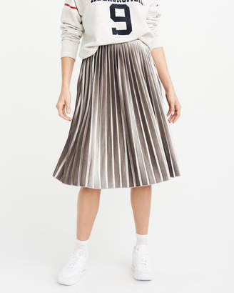Abercrombie & Fitch Pleated Velvet Midi Skirt