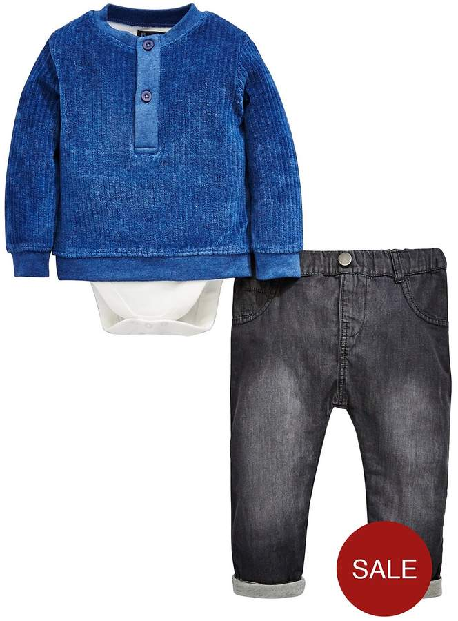 Mini V By Very Baby Boys Velour Sweat With Jean Set