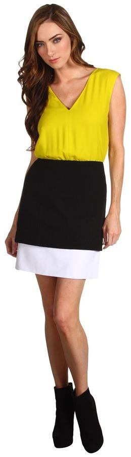 Tibi V-Neck Dress (Lime Green/Black/White Multi) - Apparel