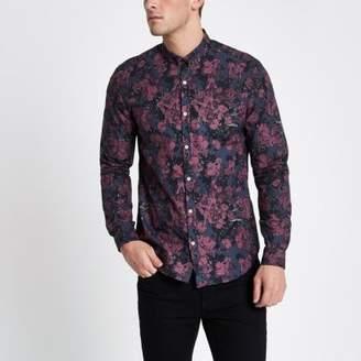 River Island Mens Burgundy floral long sleeve slim fit shirt