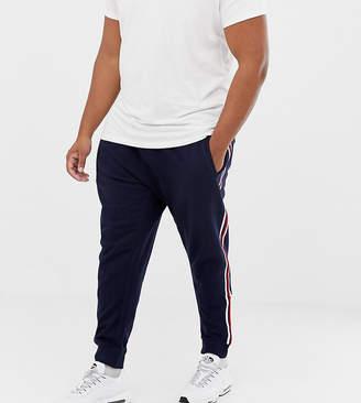 Burton Menswear Big & Tall joggers with side stripe in navy