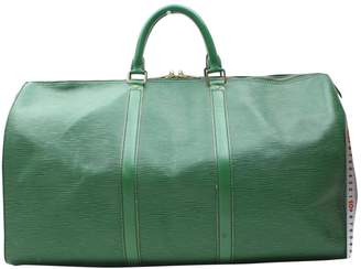 Louis Vuitton Vintage Keepall Green Leather Travel Bag