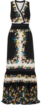 Erdem Nichole Wrap-effect Floral-print Silk Crepe De Chine Gown - Black