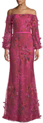 Marchesa Off-the-Shoulder Bishop-Sleeve 3D Floral-Embroidered Gown