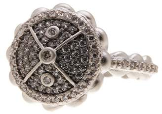 Freida Rothman Pave CZ Scallop Shaped Cocktail Ring - Size 8