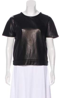 Rag & Bone Leather Short Sleeve Top