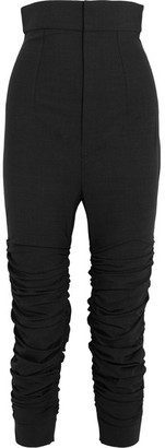 Le Corsaire Froncé Ruched Stretch-wool Skinny Pants - Dark gray