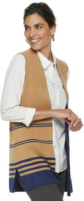 Dana Buchman Women's Striped Long Sweater Vest