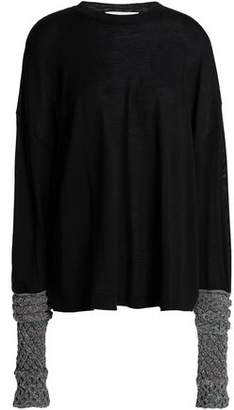 Esteban Cortazar Metallic-paneled Merino Wool, Silk And Cashmere-blend Sweater