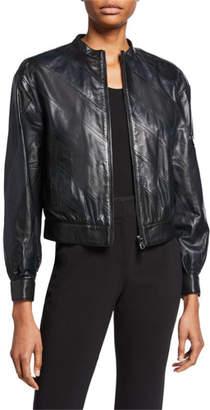 Emporio Armani Diagonal Leather Bomber