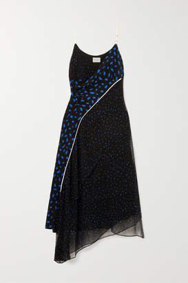 Jason Wu GREY Asymmetric Printed Silk-chiffon And Crepe De Chine Dress
