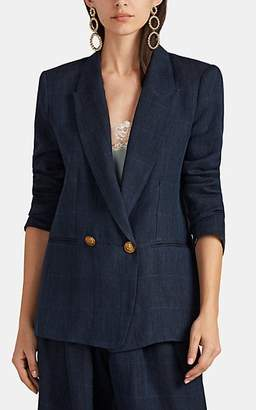 Icons Women's The Rose Plaid Linen Twill Double-Breasted Blazer - Navy