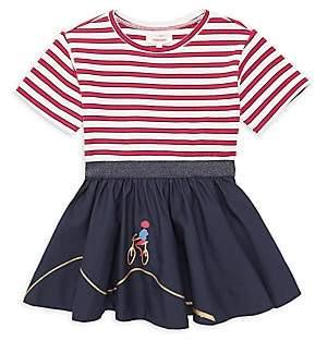 Catimini Little Girl's & Girl's Mixed Media Stripe Dress