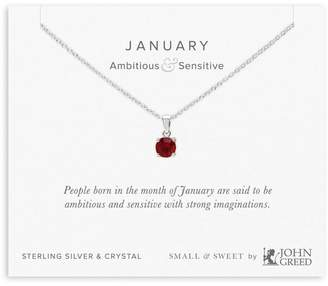John Greed Small & Sweet Silver & Crystal January Birthstone Necklace