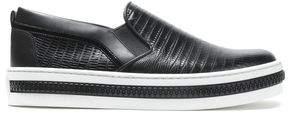 Sergio Rossi Lizard-Effect Leather Slip-On Sneakers