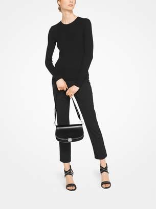 Michael Kors Mia Zipper Calf Leather Crossbody Satchel