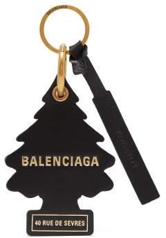 Balenciaga Car Air Freshener Leather Key Ring - Womens - Black