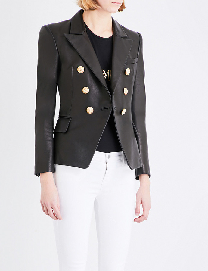 Balmain BALMAIN Double-breasted leather suit jacket