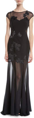 Halston Embroidered Cap-Sleeve Gown w/ Sheer Overlay