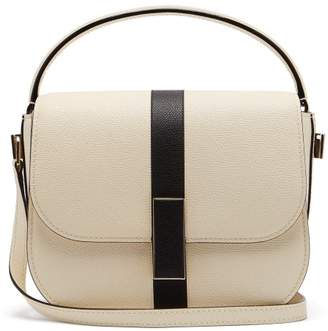 Valextra Iside Grained Leather Cross Body Bag - Womens - White Black