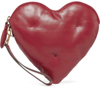 Anya Hindmarch Chubby Heart Quilted Textured-leather Clutch