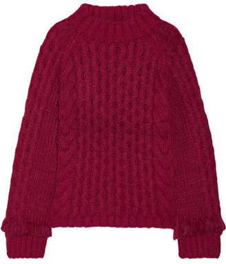 Eleven Paris SIX - Lorena Fringed Cable-knit Alpaca-blend Sweater - Burgundy