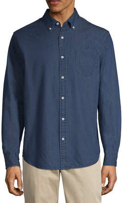 ST. JOHN'S BAY Mens Long Sleeve Dots Button-Front Shirt