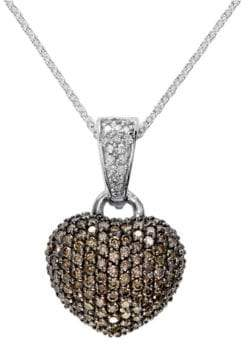Effy 14K White Gold 0.94TCW Diamond and Espresso Diamond Heart Pendant Necklace