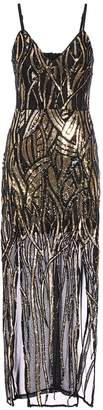 Quiz TOWIE Black and Gold Mesh Sequin Maxi Dress