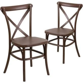 Flash Furniture 2pk HERCULES Series Resin Cross Back Chair with Steel Inner Leg, Multiple Colors
