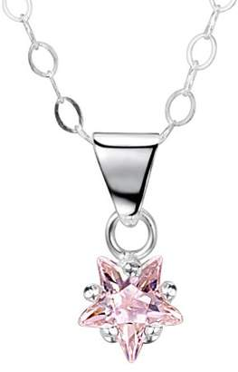 Jo for Girls Jo 6mm Pink Cubic Zirconia Star Sterling Silver Pendant