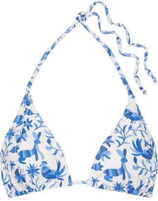 VerdeLimón - Moa Printed Triangle Bikini Top - Azure