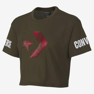 Converse Floral Fill Star Chevron Mesh Easy Womens Crop T-Shirt