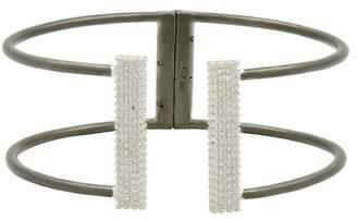 Freida Rothman Two-Tone Rhodium Plated Sterling Silver Pave CZ Hinged Cuff Bracelet