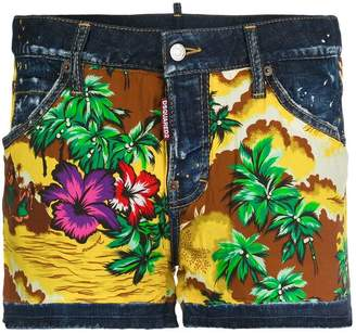 DSQUARED2 Hawaiian print denim shorts