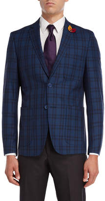 English Laundry Blue Plaid Sport Coat