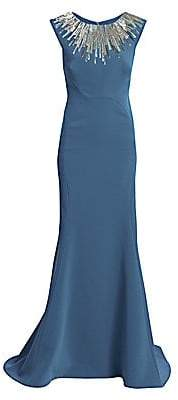 Zac Posen Women's Embellished-Neckline Sleeveless Crepe Gown