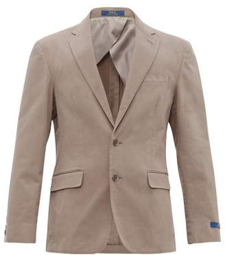 Single Breasted Cotton Blend Blazer - Mens - Grey