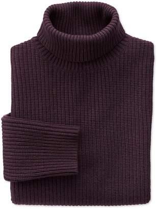 Charles Tyrwhitt Wine Rib Roll Neck Wool Sweater Size XL