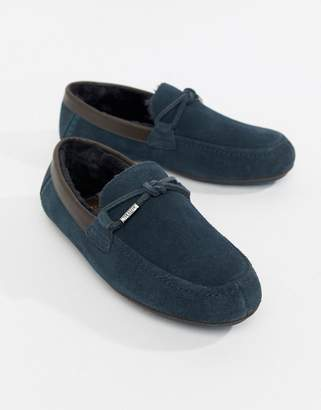 Ted Baker Valcent moccasin slippers in navy suede
