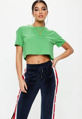 Missguided Green Roll Sleeve Crop Top