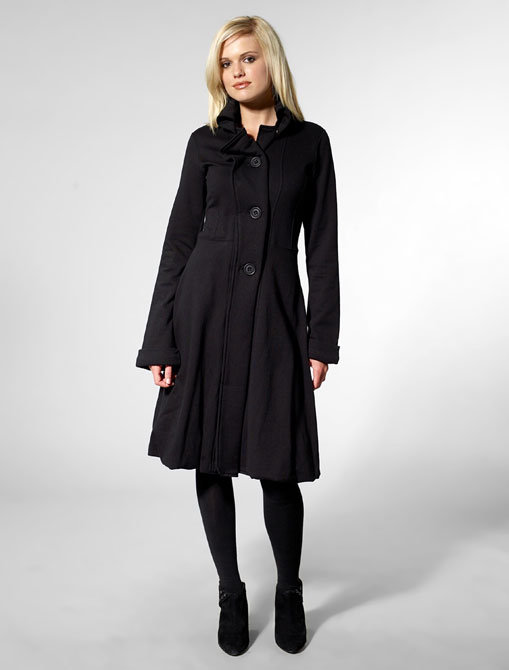 Mike & Chris Simeon Wide Lapel Trench Coat in Black