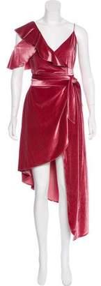 Self-Portrait Ruffled Velvet Dress