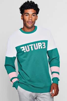 boohoo Future Applique Colour Block Sweater