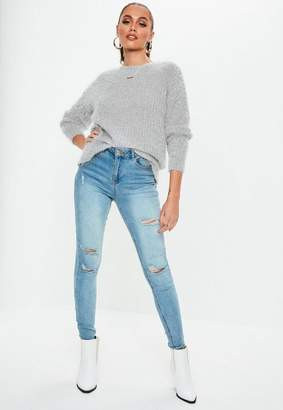 Missguided Tall Gray Crew Neck Fluffy Boyfriend Sweater