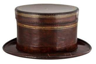 Maitland-Smith Leather Top Hat Box Brown Leather Top Hat Box