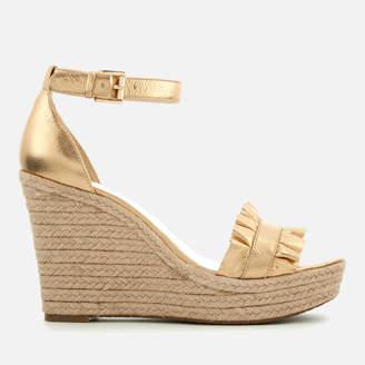 MICHAEL Michael Kors Women's Bella Metallic Leather Wedged Sandals - Pale Gold