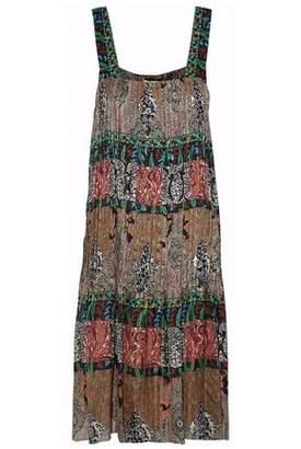 Oscar de la Renta Pleated Printed Silk-Gauze Dress