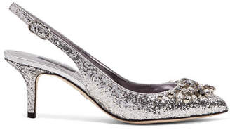 Dolce & Gabbana Crystal-embellished Glittered Leather Slingback Pumps - Silver