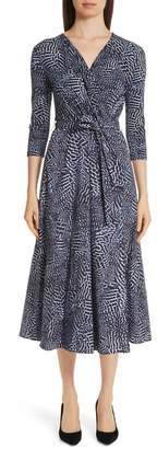 Max Mara Acume Print Faux Wrap Dress